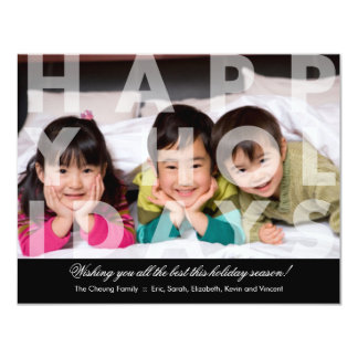 Transparent Happy Holidays Greeting 4.25x5.5 Paper Invitation Card
