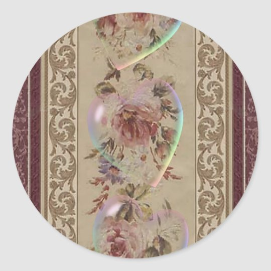 TRANSPARENT HEARTS & ROSES by SHARON SHARPE Classic Round Sticker