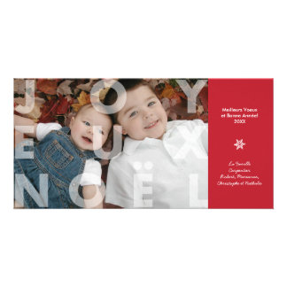 Transparent Joyeux Noel in Red Photo Card