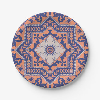 Transparent Monogram Azulejo Style  Paper Plate