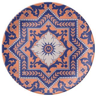 Transparent Monogram Azulejo Style Plate