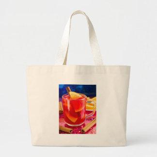 Transparent mug with citrus mulled wine large tote bag