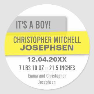Transparent Panels Birth Announcement Classic Round Sticker