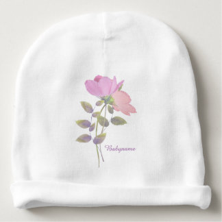 Transparent Pink & Peach Flowers Personalized Baby Beanie