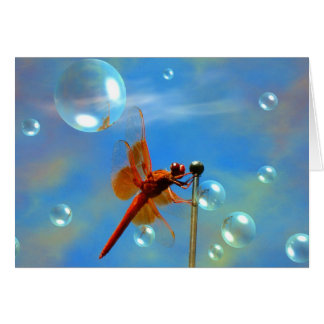 Transparent Red Dragonfly Card