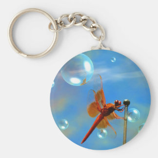 Transparent Red Dragonfly Keychain