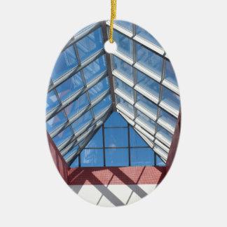 Transparent roof of the shopping center ceramic ornament