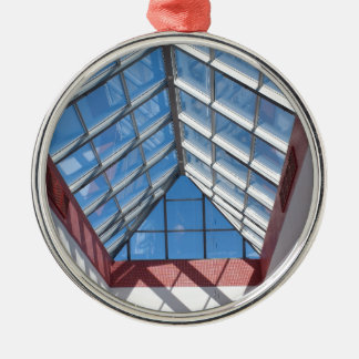 Transparent roof of the shopping center metal ornament