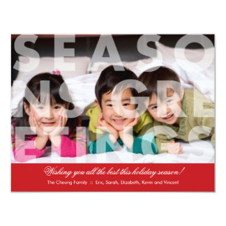 Transparent Seasons Greetings in Red Card