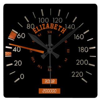 Transparent Speedometer on Dashboard Square Clock