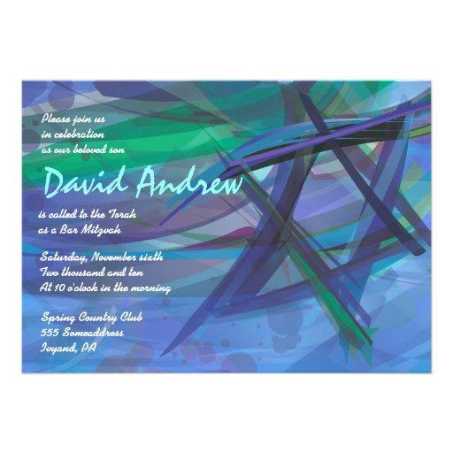 Transparent Star Bat Bar Mitzvah Invitation blue