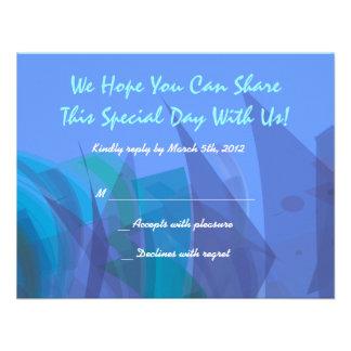 Transparent Star Bat Bar Mitzvah reply card blue Custom Announcements