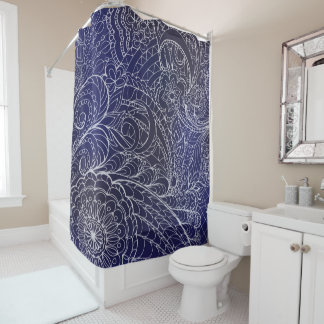 Transparent White Blue Zen Pattern Dark Gradient Shower Curtain