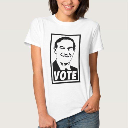 Transparente negro del voto 2012 de Ron Paul Playeras