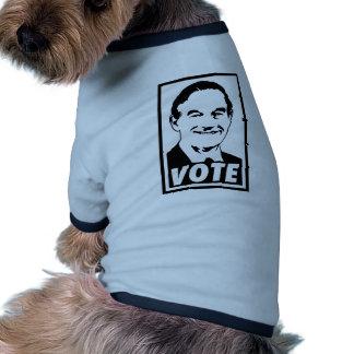 Transparente negro del voto 2012 de Ron Paul Camiseta De Perrito