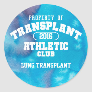 Transplant Athletic Club Watercolor Lung Classic Round Sticker