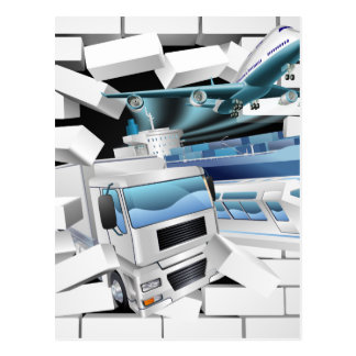 Transport Logistics Cargo Breaking Wall Postcard