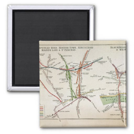 Transport map of London, c.1915 2 Inch Square Magnet