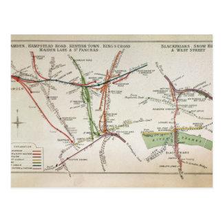 Transport map of London, c.1915 Postcards