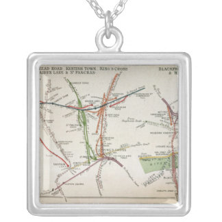 Transport map of London, c.1915 Silver Plated Necklace