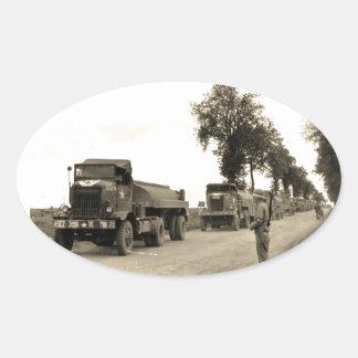 Transport Trucks Normandy 1944 Oval Sticker