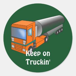 Transportador pesado del camión de petrolero del pegatinas redondas