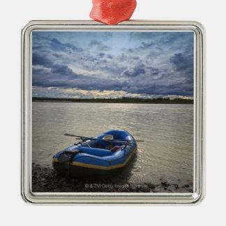 Transportando en balsa en el río de Talkeetna, Adorno Navideño Cuadrado De Metal