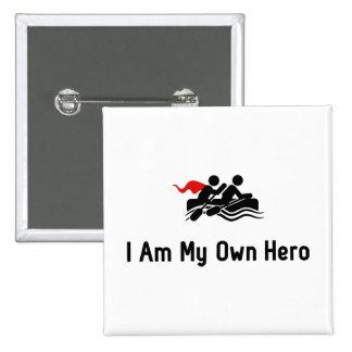 Transportar al héroe en balsa pin cuadrado