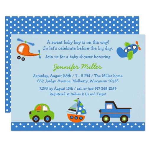 Transportation Baby Shower Car Truck Airplane Card