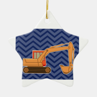 Transportation Backhoe Zigzag Chevron - Blue Double-Sided Star Ceramic Christmas Ornament