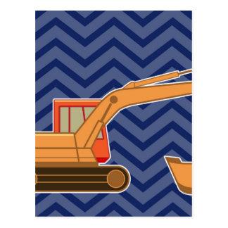 Transportation Backhoe Zigzag Chevron - Blue Postcard