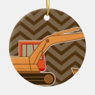 Transportation Backhoe Zigzag Chevron - Brown Double-Sided Ceramic Round Christmas Ornament
