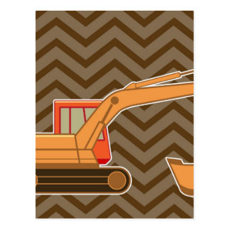 Transportation Backhoe Zigzag Chevron - Brown Post Card