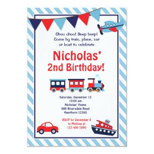 Transportation Birthday Invitation Train Invite