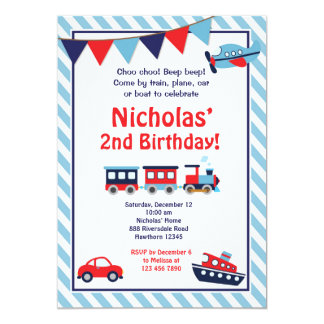 Transportation Birthday Invitation / Train Invite