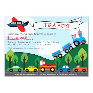 Transportation BOY Baby Shower Invitations