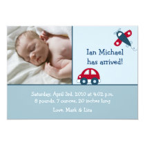 Transportation Car Airplane Birth Announcements