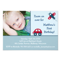 Transportation Car Airplane Birthday Invitations