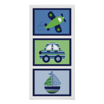 Transportation Car Boat Airplane Nursery Wall Art