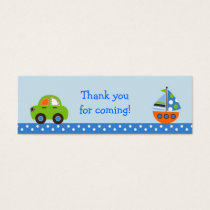 Transportation Car Boat Party Favor Gift Tags