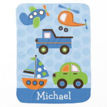 Transportation Car Truck Airplane Boat Swaddle Blanket