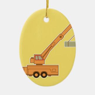 Transportation Crane - Yellow Ceramic Ornament