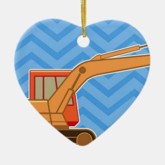 Transportation Heavy Equipment Backhoe  – Blue Double-Sided Heart Ceramic Christmas Ornament