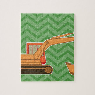 Transportation Heavy Equipment Backhoe - Green Jigsaw Puzzle