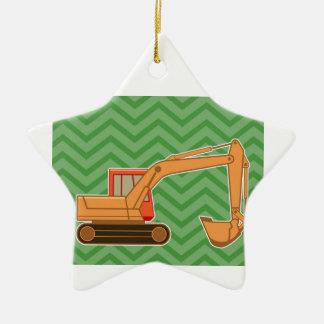 Transportation Heavy Equipment Backhoe - Green Double-Sided Star Ceramic Christmas Ornament