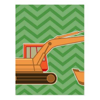Transportation Heavy Equipment Backhoe - Green Post Cards