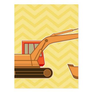 Transportation Heavy Equipment Backhoe - Yellow Postcard
