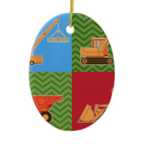 Transportation Heavy Equipment - Collage Ceramic Ornament