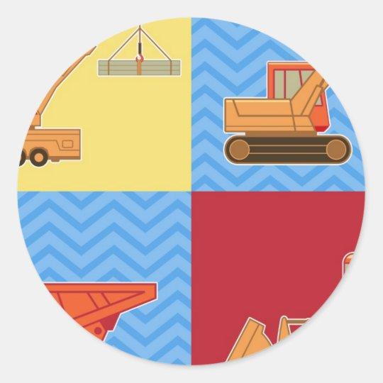 Transportation Heavy Equipment – Collage Classic Round Sticker