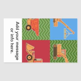 Transportation Heavy Equipment - Collage Rectangular Sticker